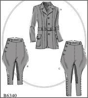 B6340 Butterick Sewing Pattern Men's Victorian Banded Jacket Breeches Jodhpurs