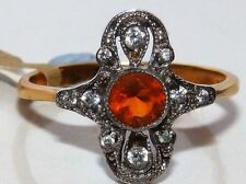 Fire Opals Cluster Fine Rings