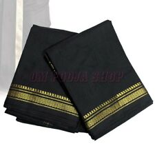 Black Cotton Dhoti with Angavastram Golden Border for Men Wear Om Pooja Shop