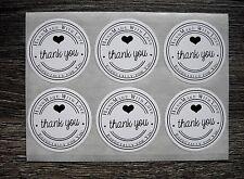 """12 Sticker Vintage rund """"HANDMADE WITH LOVE"""" Etiketten THANK YOU Aufkleber Herz"""