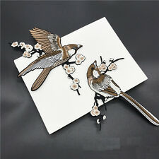 1 Pair Bird Embroidered Patches Iron on Sewing Stripe for clothes applique JO