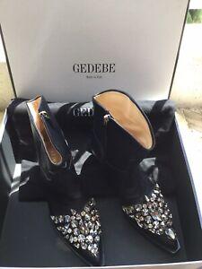 Superbe Boots Santiag Strass Cuir Noir Gedebe 37 Comme Neuve Valeur 765€