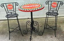 AUTHENTIC VINTAGE  COCA-COLA  WROUGHT IRON TYPE  BAR OR  PATIO TABLE & STOOLS
