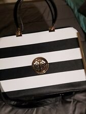 Dasein Striped Faux Leather Brief Case Purse Tote| Luxury Tote| Womens Purse
