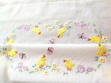 """Vintage Hand Embroidered White Cotton Chickens & Butterflies Tablecloth 29x30"""""""