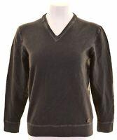 TRUSSARDI Womens V-Neck Jumper Sweater Size 22 3XL Grey Wool Slim Fit  FG10