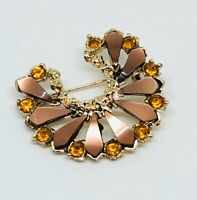 Vintage Brooch Gold Tone Crystal Plastic Beads Horseshoe Shape Sparkly Glitzy