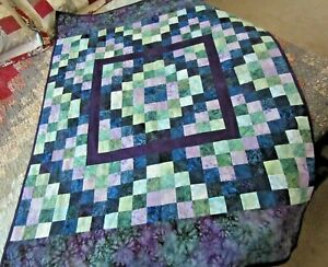 Pieced Throw Quilt Purple Multi Color Patchwork Design for Lap or Nap - Handmade