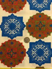 BTY VTG Samson & Abbott Geometric Retro Fabric w/Asian look. Blue Red Green Star