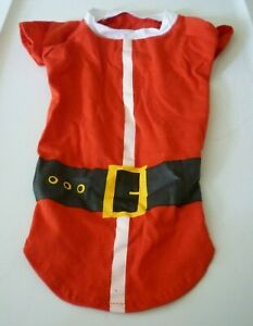 New Dog size Medium Santa Suit Costume Red White cotton Christmas shirt