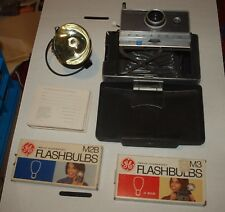 POLAROID AUTOMATIC 100 LAND CAMERA W/ LEATHER CASE FLASH BULBS PRINT MOUNTS