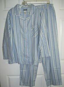 Joe Boxer Women Pajamas 1 X  100% Cotton Flannel Stripe Button Up Long Sleeve20C