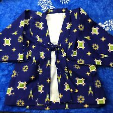 SMALL / XS KID'S KIMONO JACKET TOP BOY'S GIRL'S BLUE FRONT TIE LINED (C20)