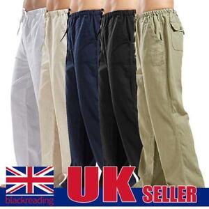 Mens Casual Cotton Linen Pants Yoga Drawstring Loose Wide Leg Long Trousers HOT