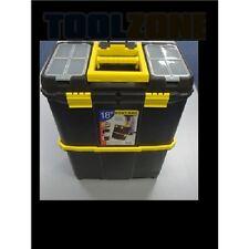 Toolzone 45.7cm Doble Caja Herramientas Organizador con ruedas interior Bandeja