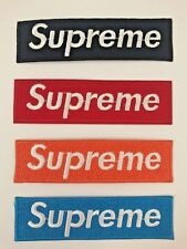 4 x Supreme Logo Red Black Orange Blue Embroidered Patch Sew On Iron on Badge