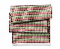 """Red green and Navy Chindi   table runner 14"""" x 72""""  decor fabric 100% cotton"""