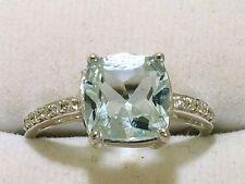 R193 -Superb 9ct White Gold NATURAL Aquamarine & Diamond ENGAGEMENT Ring size M