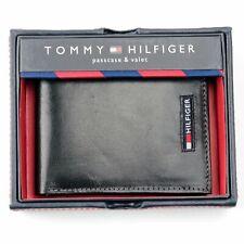 NEW TOMMY HILFIGER BLACK LEATHER BI-FOLD MEN'S WALLET WITH BOX