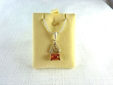 Genuine Natural Baltic Cognac Amber 925 Sterling Silver Necklace