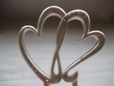 Cake Topper Silver colour Hearts Wedding Engagement Clearance