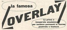 W1903 Lucida pavimenti OVERLAY - Pubblicità del 1958 - Vintage advertising