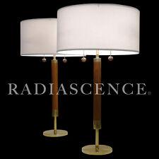 STIFFEL MODERN ATOMIC ART DECO BRASS WALNUT TABLE LAMPS 50s PARZINGER REMBRANDT