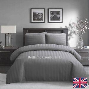 7' EMPEROR SIZE (Hotel Quality) SATIN STRIPE DUVET COVER - GREY 100% Cotton