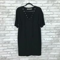 Michael Stars Womens XS Lace Up Tee Shirt Dress Short Sleeve Black Relaxed Fit