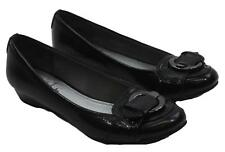 Life Stride Womens Ladies Black Buckle Front Slip-On Flats Shoes Size 6.5M