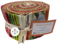 "Sue Zipkin, Zinnias In Bloom, Strip Roll 2.5"" Fabric Quilting Strips, Clothworks"