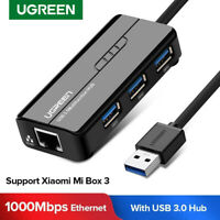 UGREEN 3 Ports USB 3.0 Hub with Gigabit Ethernet Adapter RJ45 Lan Network Card