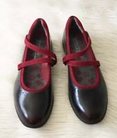 Aravon New Balance Size 9.5 Women's Burgundy Leather Mary Jane Cross Strap Shoes