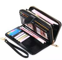 Women Zipper Long Leather Wallet Card Holder Phone Bag Case Lady Purse Handbag