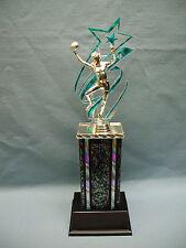 silver female Basketball trophy teal star backdrop black & silver column