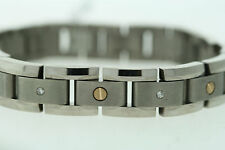 Titanium & 14K Gold Screws .25ctw Genuine Diamond 12mm wide Bracelet
