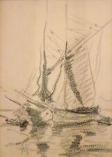 Georges Ricard-Cordingley - Dessin crayon - Bateau(v)