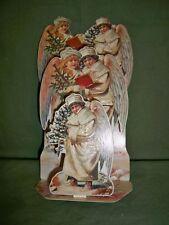 1988 Merrimack 3D VICTORIAN ANGELS Cherubs Fir Trees Christmas Greeting Card