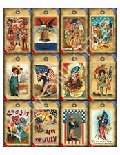 12 Primitive Patriotic Americana Hang Tags Scrapbooking Paper Crafts (287)