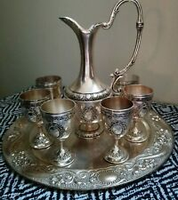 Water Pitcher & Goblets Set With Tray Metal Better Known as Possibly an Aftaba