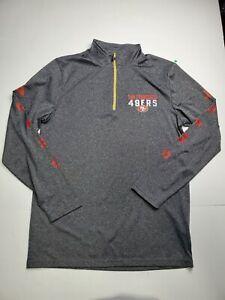 NFL Team Apparel San Francisco 49ers 1/4 Zip Pullover Gray Sweater Men's Size M