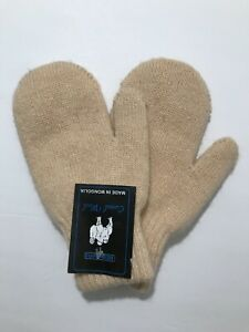 Womens Camel Wool Mittens Stretch Fits Size Cashew Light Beige S Mongolia NWT