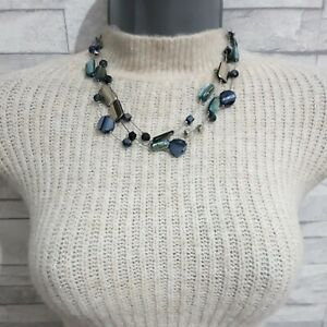 M&S Multi Strand Necklace Navy Blue Glass Beads Green Shells Silver Square Beads