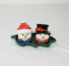 Vintage Christmas Salt Pepper Shaker Set With Holly Tray