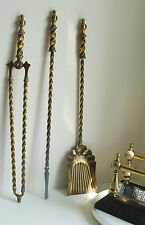 3 Antique Barley twist brass fire irons (not the dogs)