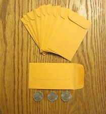"125 KRAFT SMALL CHANGE COIN ENVELOPES  #3  SIZE 2.5"" BY 4.25""  WITH GUMMED FLAP"