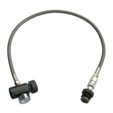"New Paintball 24"" Stainless Steel Braided Remote Hose with 3000 PSI Gauge w/ QD"