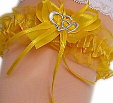 Strumpfband Braut gelb sonnengelb gold mit Schleife Herzchen Silbernaht Neu EU