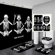 Skull Skeleton Pattern Bathroom Shower Curtain Toilet Seat Cover Rugs Bath Mats
