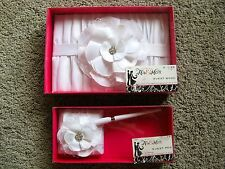 Wedding White Satin Flower Accented Floral Rhinestone Guestbook & Matching Pen